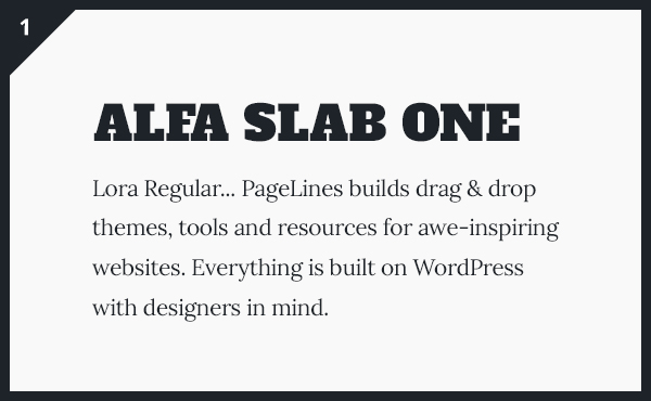 Alfa Slab One & Lora Google Fonts