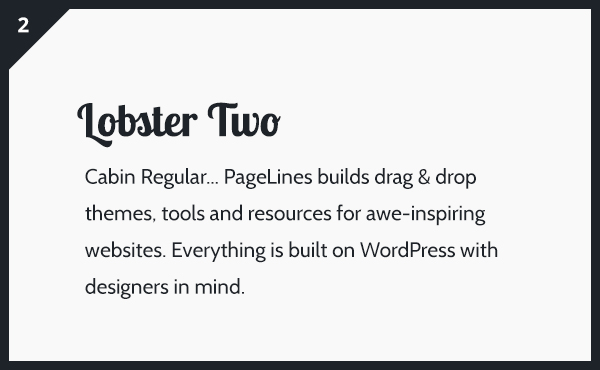 Lobster Two & Cabin Google Fonts