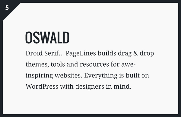 Oswald & Droid Serif Google Fonts