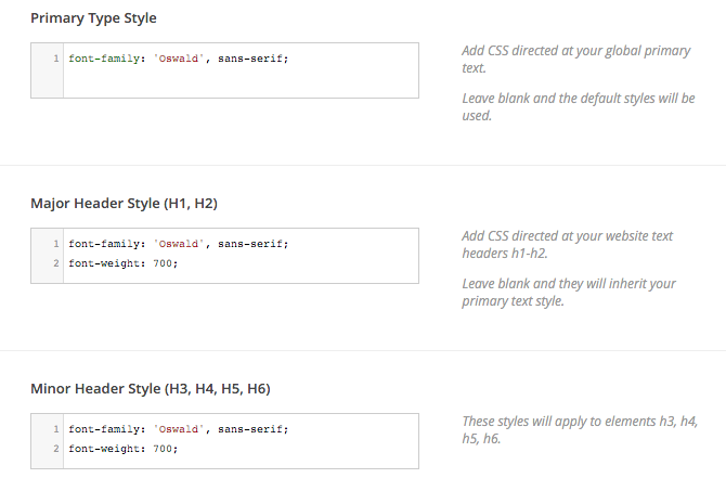 Google Fonts CSS Type Settings