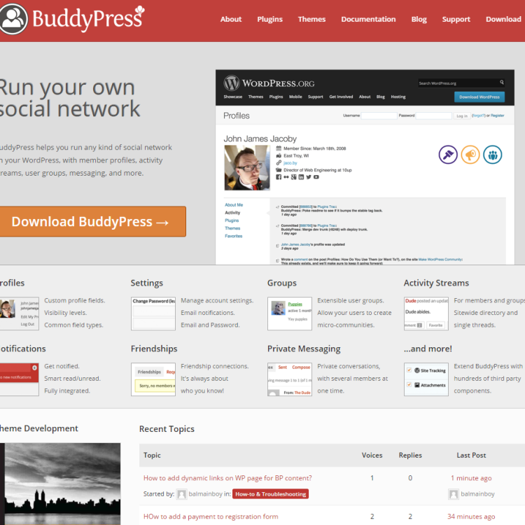 BuddyPress plugin for WordPress and PageLines